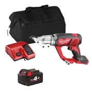 Milwaukee M18BMS12ITS 18v M18 Plate Shears with 1 x 4Ah Battery, Charger and Bag