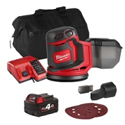 Milwaukee M18BOS125ITS Milwaukee M18 BOS125ITS 18V M18 125mm Random Orbit Sander with 1 x 4Ah Battery, Charger and Bag