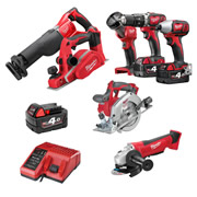 Milwaukee M18BPP7A403B Milwaukee 18v RED Li-ion Cordless 4Ah 7 Piece Kit