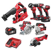 Milwaukee M18BPP8A403B Milwaukee 18v RED Li-ion Cordless 4Ah 8 Piece Kit