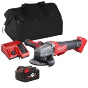 Milwaukee M18CAG115XPDBITS Milwaukee M18 CAG115XPDBITS 18V M18 115mm FUEL Grinder with 1 x 4Ah Battery, Charger and Bag
