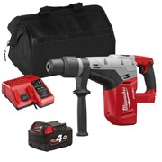 Milwaukee M18CHMITS 18v M18 FUEL SDS-MAX Hammer Drill with 1 x 4Ah Battery, Charger and Bag