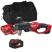 Milwaukee M18CRADITS 18v M18 'HOLE HAWG' Right Angle Drill with 1 x 4Ah Battery, Charger and Bag