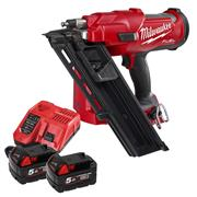 Milwaukee M18 FFN-502X Milwaukee M18 FFN-502X FUEL Brushless First Fix Framing Nail Gun 2 x 5Ah Batteries, charger and Case