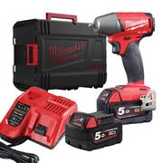 Milwaukee M18 FIW2F3 502X Milwaukee M18 FIW2F38 502X 18V 3/8'' Compact Impact Wrench, with 2 x 5Ah batteries, Charger and Case