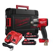Milwaukee M18FMTIW2F12-302C Milwaukee M18FMTIW2F12-302C 18V Mid Impact Wrench with 2 x 3Ah Batteries, Charger and Case