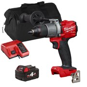 Milwaukee M18 FPD2 18v M18 FUEL Combi Drill with 1 x 4Ah Battery, Charger and Bag