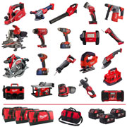 Milwaukee M18FPP20A505BPK 18v M18 ''BIG RED'' 20 Piece Kit with 5 x 5Ah Batteries, Multibay Charger and 4 x Bags