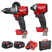 Milwaukee M18FPP2A2-502X 18v M18 FUEL 2 Piece Kit with 2 x 5Ah Batteries, Charger and Case