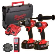 Milwaukee M18FPP3G-502X 18v M18 FUEL 2 Piece Kit with 2 x 5Ah Batteries, Charger, Case, TICK and Measurer