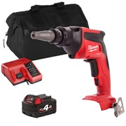 Milwaukee FSGXITS 18v M18 FUEL Drywall Screwgun with 1 x 4Ah Battery, Charger and Bag