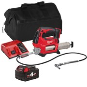 Milwaukee GGITS 18v M18 Grease Gun with 1 x 4Ah Battery, Charger and Bag