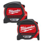 Milwaukee PREIMP1 Milwaukee GEN2 5m/16ft & 8m/26ft Magnetic Tape Measure Pack