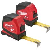 Milwaukee PROMET1 Milwaukee 5m & 8m Pro Compact Tape Measure C5/C8/25 - Pack of 2