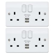 MK by Honeywell K2744WHIPK2 MK by Honeywell 2 Gang DP S/S Port USB Integrated Charger Socket 2A/5V Twinpack