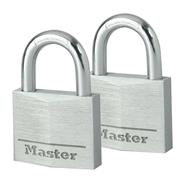 Master Lock MLK9140EURT Masterlock 40mm Aluminium Padlocks 21mm Shackle 6mm Diameter Twinpack