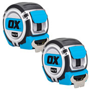 OX Tools P028705PK2 OX Professional Heavy Duty Tape Measure 5m/16ft Twinpack
