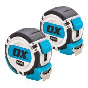 OX Tools P028708 OX Pro Metric/Imperial 8m Tape Measure Twinpack