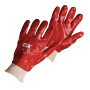 OX Tools OX-S245710 OX Red PVC Knit Wrist Gloves - Size 10 (XL)
