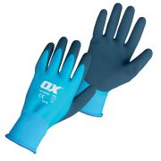 OX Tools OX-S483809 OX Waterproof Latex Gloves - Size 9 Large