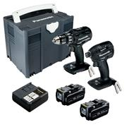 Panasonic EYC215LJ2G 18v Brushless 2 Piece Kit with 2 x 5Ah Batteries, Charger & Systainer Case