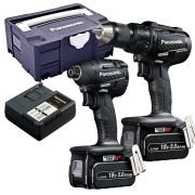 Panasonic EYC217LJ2G31 Panasonic 18v Brushless Impact Driver & Combi Drill 2 Piece Kit in Tanos
