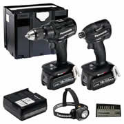 Panasonic EYC 217 LJT Panasonic 18v Brushless 5.0Ah Combi Drill and Impact Driver 2 Piece Kit