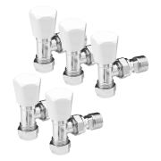 "Pegler 647055-pk5 Pegler Mercia 15mm x 1/2"" Angle Radiator Valve (White/Chrome)  - Pack of 5"