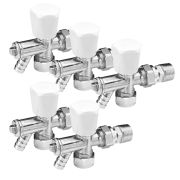 Pegler 647058-PK5 Pegler Mercia 15mm Angle TRV & LS Wheel-Head (White/Chrome) - Pack of 5