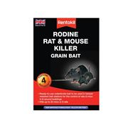 Rentokil  Rodine Mouse & Rat Killer Grain Bait - Pack of 4