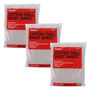 Prodec Prodec 12' X 9' Cotton Twill Dust Sheets - Pack 3