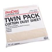 Prodec Contractor 12' X 9' Cotton Dust Sheets - Pack 2