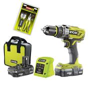 Ryobi R18PD3-213S 18v ONE+ Combi Drill with 2 x 1.3Ah Batteries, Charger and Case