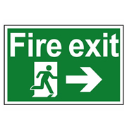 Scan 1504 Fire Exit Running Man Arrow Right PVC Sign - 300mm x 200mm