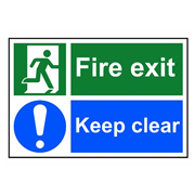 Scan 1540 Fire Exit Keep Clear PVC Sign - 300mm x 200mm