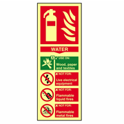 Scan 1590 Scan Fire Extinguisher Composite Water - Photoluminescent PVC Sign 75mm x 200mm