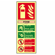 Scan 1591 Fire Extinguisher Composite Foam - Photoluminescent PVC Sign - 75mm x 200mm