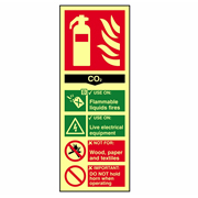 Scan 1592 Fire Extinguisher Composite CO2 - Photoluminescent PVC Sign - 75mm x 200mm