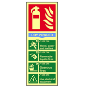 Scan 1593 Fire Extinguisher Composite Dry Powder - Photoluminescent PVC Sign - 75mm x 200mm