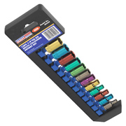 Sealey AK282 1/4'' Square Drive Multi-Coloured 6 Point WallDrive Metric Socket Set 12 Piece
