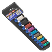 "Sealey AK285 Sealey AK285 Multi-Coloured Socket Set 10pc 3/8""Sq Drive 6pt WallDrive® Metric"