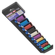 "Sealey AK288 Sealey Multi-Coloured Socket Set 10pc 1/2""Sq Drive 6pt WallDrive® Metric"