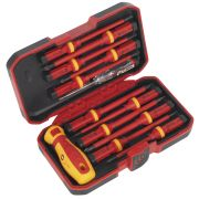 Sealey AK6129 Sealey VDE Screwdriver Bit 12 Piece Set with Interchangeable Blade