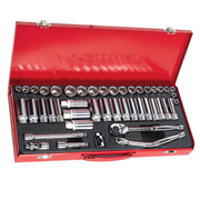 "Sealey AK692 Sealey Socket Set 45pc 3/8""Sq Drive 6pt WallDrive® - DuoMetric®"