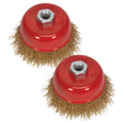 Sealey CBC752 Sealey Ø75mm Brassed Steel Cup Brush M14 Thread Twinpack