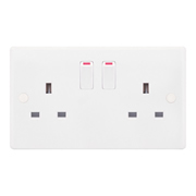 Selectric SSL523-1 13A 2 Gang Single Pole Switched Double Socket Outlet + 2 Earth Terminals