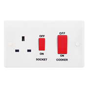 Selectric SSL564 45A Cooker Unit, 13A Switched Socket, Red Rockers