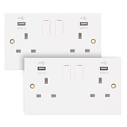 Selectric SSL581 13A 2 Gang USB Switched Socket Outlet - Pack of 2
