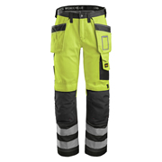 Snickers 32336674 Hi-Vis Holster Pocket Trousers, Class 2, Yellow
