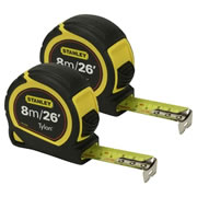 Stanley 030656PK2 Tylon Tape Measure 8m/26ft - Pack of 2